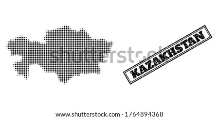 Halftone map of Kazakhstan, and unclean stamp. Halftone map of Kazakhstan made with small black circle items. Vector seal with unclean style, double framed rectangle, in black color.