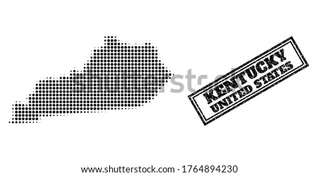Halftone map of Kentucky State, and unclean seal stamp. Halftone map of Kentucky State made with small black spheric dots. Vector imprint with unclean style, double framed rectangle, in black color.