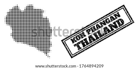 Halftone map of Koh Phangan, and unclean seal. Halftone map of Koh Phangan generated with small black circle pixels. Vector imprint with unclean style, double framed rectangle, in black color.