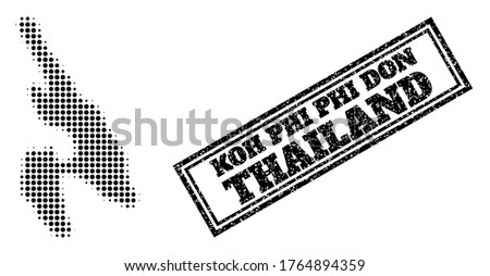 Halftone map of Koh Phi Don, and unclean seal stamp. Halftone map of Koh Phi Don constructed with small black circle dots. Vector imprint with unclean style, double framed rectangle,
