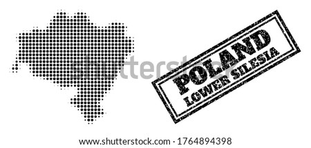 Halftone map of Lower Silesia Province, and unclean seal stamp. Halftone map of Lower Silesia Province constructed with small black spheric points. Vector seal with unclean style,