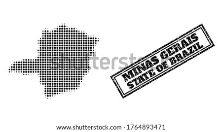Halftone map of Minas Gerais State, and unclean stamp. Halftone map of Minas Gerais State generated with small black spheric dots. Vector watermark with unclean style, double framed rectangle,