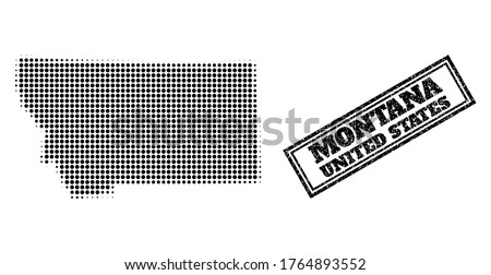 Halftone map of Montana State, and unclean seal stamp. Halftone map of Montana State constructed with small black round dots. Vector seal with unclean style, double framed rectangle, in black color.