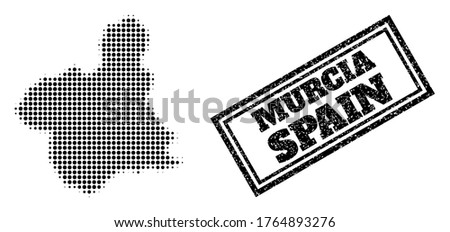 Halftone map of Murcia Province, and unclean watermark. Halftone map of Murcia Province generated with small black round elements. Vector seal with unclean style, double framed rectangle,