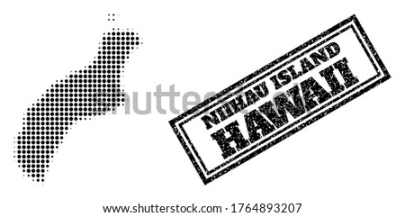Halftone map of Niihau Island, and unclean seal. Halftone map of Niihau Island constructed with small black spheric pixels. Vector imprint with unclean style, double framed rectangle, in black color.