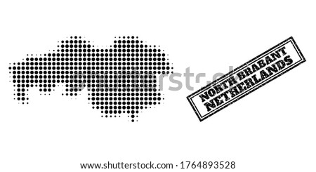 Halftone map of North Brabant Province, and unclean seal stamp. Halftone map of North Brabant Province generated with small black round elements. Vector seal with unclean style,