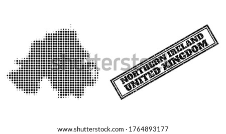 Halftone map of Northern Ireland, and unclean seal stamp. Halftone map of Northern Ireland generated with small black spheric items. Vector seal with unclean style, double framed rectangle,