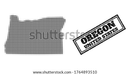 Halftone map of Oregon State, and unclean watermark. Halftone map of Oregon State constructed with small black round elements. Vector seal with unclean style, double framed rectangle, in black color.