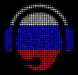 Halftone Operator Head icon colored in Russian state flag colors on a dark background. Vector mosaic of operator head icon combined from round spots.