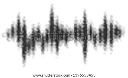 Halftone pattern audio waveform. Sound wave spectrum. Modern design rhythm of heart. Abstract dotted ornament isolated on white background