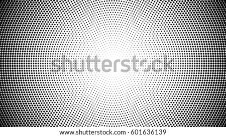 Halftone pattern background with radial effect, round spot shapes, vintage or retro graphic with place for your text. Halftone digital effect.