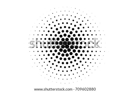 Halftone pattern with black dots on transparent overlay. Monochrome dotted vector illustration. Halftone overlay for vintage comic effect. Round dotted pattern with big dots center. Grunge texture