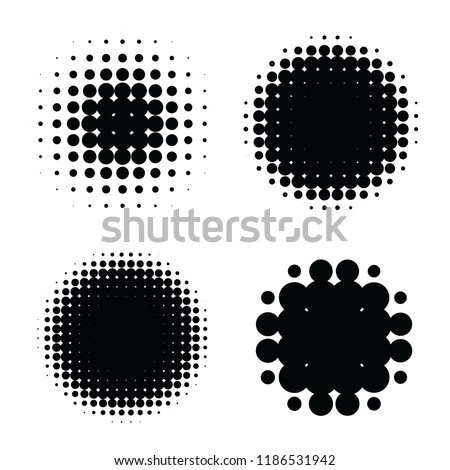 Halftone patterns set. Halftone dots circle gradient. Circular halftone design elements