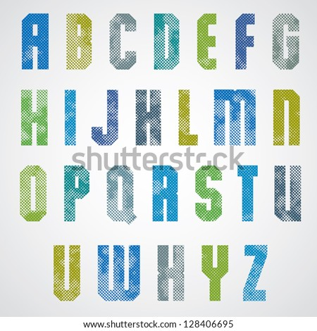 Halftone print dots textured font, uppercase letters, grunge aged macro style, geometric poster letters alphabet design.