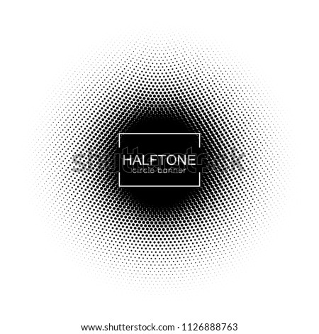 Halftone round banner. Vector dotted pattern.