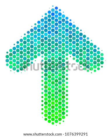 Halftone round spot Arrow Direction icon. Pictogram in green and blue color hues on a white background. Vector pattern of arrow direction icon composed of circle elements.