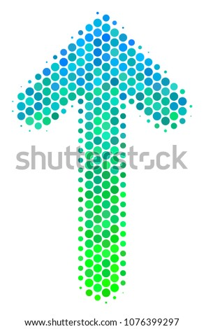 Halftone round spot Arrow Direction icon. Pictogram in green and blue color hues on a white background. Vector pattern of arrow direction icon done of sphere elements.