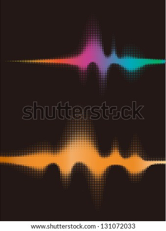 Halftone round vector elements.Vector sound waves. Music round waveform background. You can use in club, radio, pub, party, concerts, recitals or the audio technology advertising background.