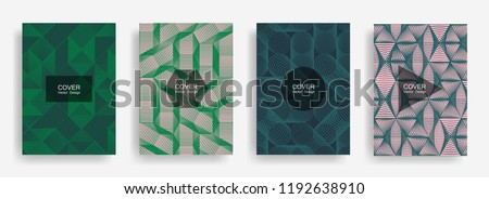 Halftone shapes minimal geometric cover templates set graphic design. Halftone lines grid vector background of triangle, hexagon, rhombus, circle shapes. Future geometric cover card backgrounds - Shutterstock ID 1192638910