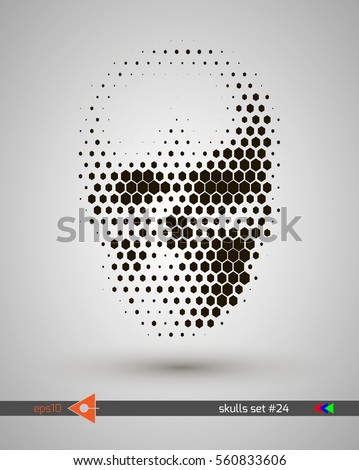 halftone skull  line  hexagon
