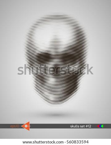 halftone skull  line  wave