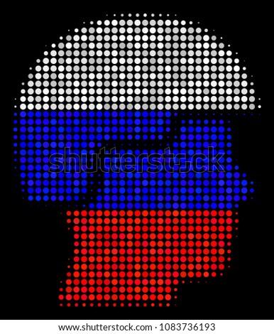 halftone soldier helmet icon