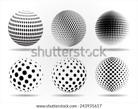 Halftone sphere.Halftone vector design element.Abstract round logo.