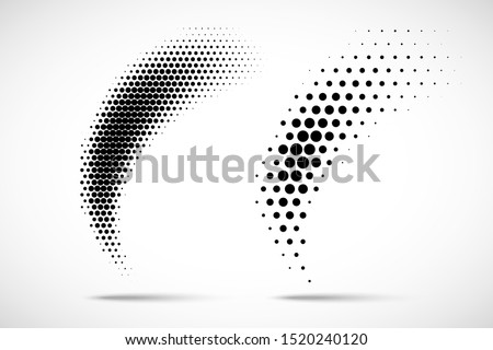Halftone vector circle dots gradient pattern isolated on white background. Curve dotted spots using halftone dot raster texture.  Blot half tone collection.