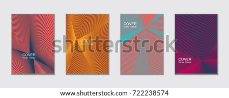 Halftone vector cover template with lines. Tech background, title places. Vector journal design covers geometric shape background set, halftone lines hipster pattern abstract collection.
