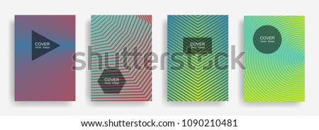 Halftone vector cover template with lines, triangle circle hexagon title places. Vector journal design geometric shape background set. Dynamic halftone lines hipster advert flyers collection.