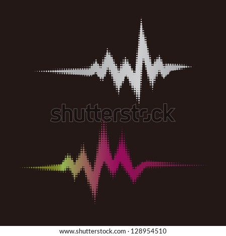 Halftone vector elements.Vector sound waves. Music round waveform background. You can use in club, radio, pub, party, DJ,concerts, recitals or the audio technology advertising background.