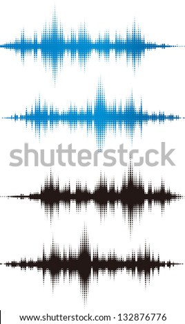 Halftone vector elements. Vector sound waves. Music waveform background. You can use in club, radio, pub, DJ show, party, concerts, recitals or the audio technology advertising background.