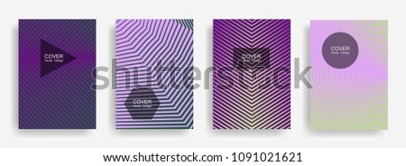 Halftone vector report template with lines, triangle circle hexagon title places. Vector journal design geometric shape background set. Digital halftone lines hipster annual reports collection.