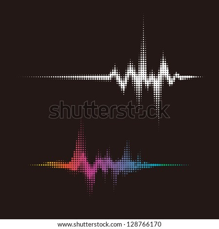 halftone vector sound waves