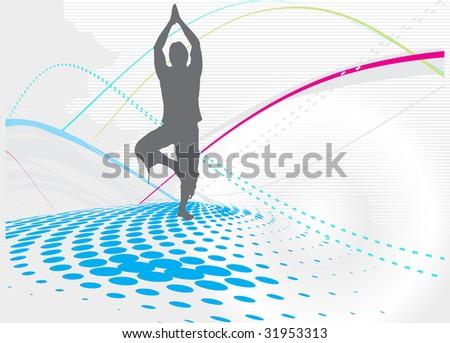 halftone wave line yoga vector illustration