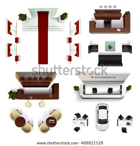 Hall interior top view realistic elements set isolated vector illustration