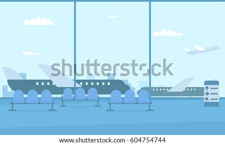 Hall of the airport. View of the runway. Planes outside the window