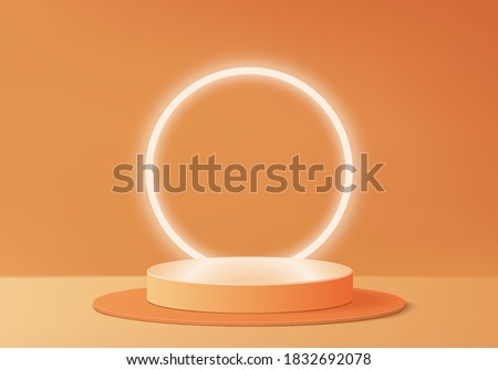 Halloween abstract minimal scene with geometric platform. background vector 3d rendering with podium. stand to show cosmetic products. Stage Showcase on pedestal modern 3d studio orange background.