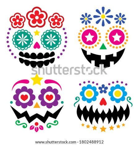 Halloween and Dia de los Muertos skulls and pumpkin faces vector color design - Mexican sugar skull style decoration. Day of the Dead scary faces with flowers and geometric shapes isolated on white Photo stock ©