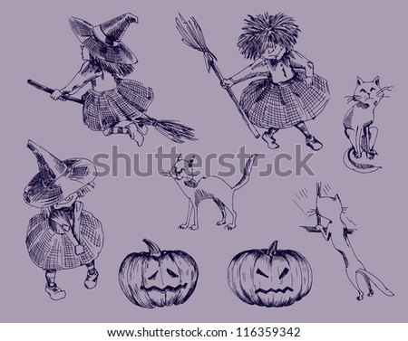 Halloween attributes. set of eight vector sketches