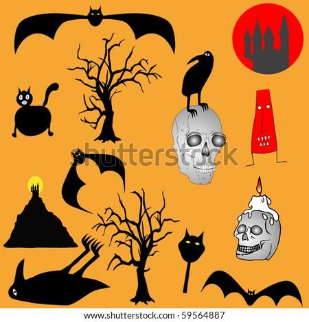 Halloween backgroud - various graphic elements