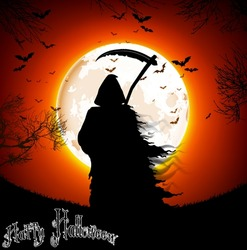 Halloween background -  a man silhouette of black scary scythe man standing on night full moon. vector