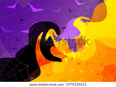 Halloween background. Abstract art silhouette of bats, spider, spider web, tree, composition Halloween day colorful overlay. Pattern for print,textile,decoration,card,fabric. Vector illustration. Photo stock ©