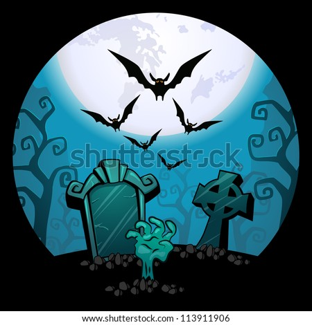 Halloween background. creepy zombie hand and grave, a flock of bats