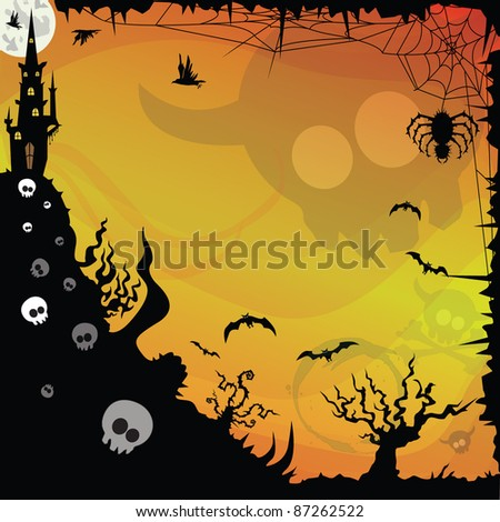 halloween background design with mansion on top of a hill with skull with horns over halftone