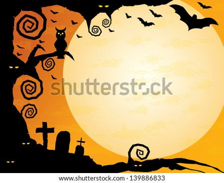 Halloween Background - Gnarled tree with owl, spooky eyes, flying bats and a huge moon -plenty of copy space