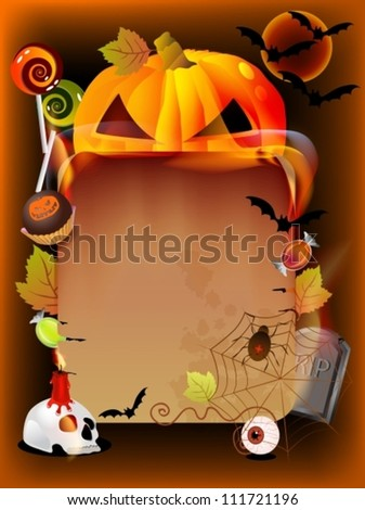 Halloween background illustration with pumpkin and old paper, vector