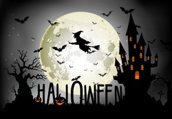 Halloween background of Witch on the full moon. Vector