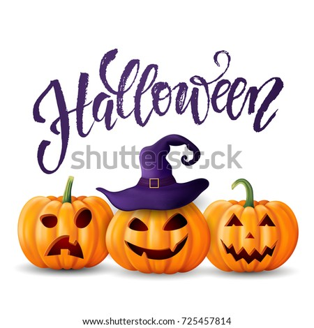 Halloween background, pumpkin. Greeting card for party and sale. Autumn holidays. Hand drawn lettering Halloween. Vector illustration EPS10.