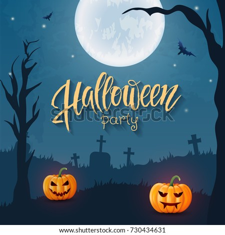 Halloween background, pumpkin, hand drawn lettering. Greeting card for party and sale. Autumn holidays. Vector illustration EPS10.